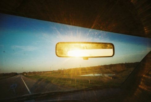 Rearview mirror and sun rays