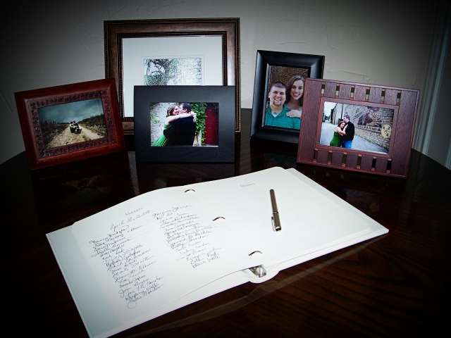 pictures and guest book at the shower