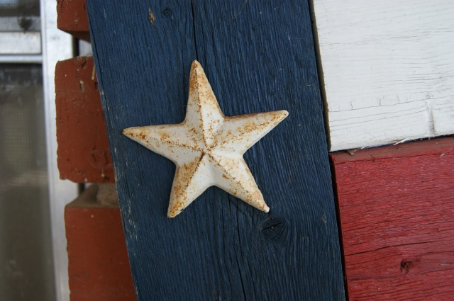 A wooden Texas flag