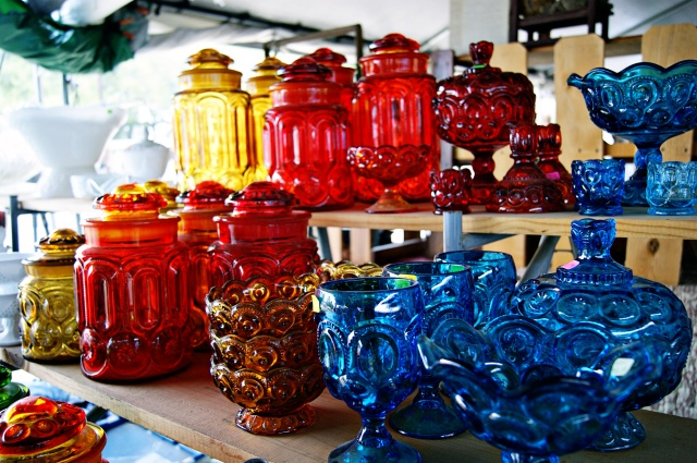 colorful glassware at Round Top Antiques Week