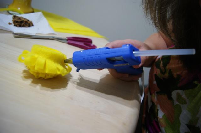 Gluing a felt flower