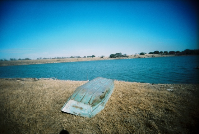 lake at the ranch, empty boat