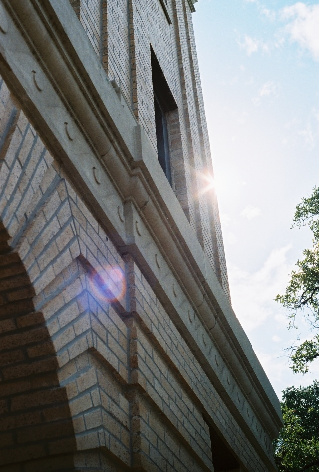 sun flare on Texas A&M's campus