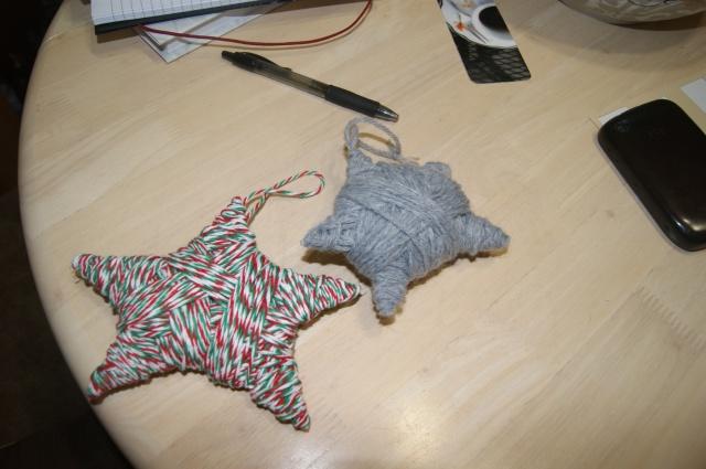 star yarn ornaments