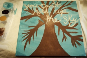"my ""you can't hold up the sky"" painting"